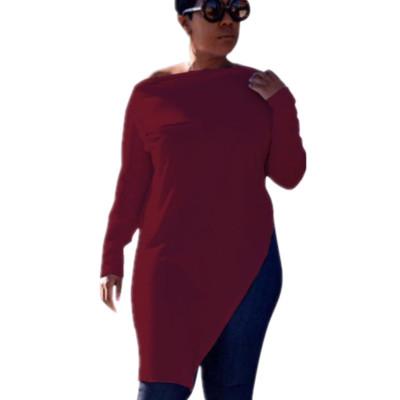 Wine Red Leisure Zipper Deco Bodycon Pure Color Split Long T-Shirt HG5120
