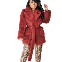 WIne Red Fleece Doubel-Layer Long Sleeve Coat with Belt M1007