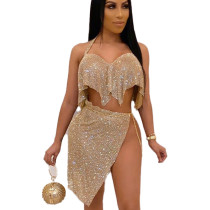 Golden Sequined Split Backless Blouse & Skirt Set CY1209