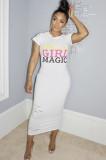 White Letter Print Flutter Sleeve Long Dress KDN1151