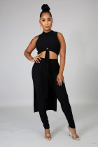Black Rib-knit Front Knotted Crop Tank Top & High Waist Skinny Pants Sets FH083