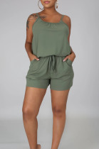 Green Casual Polyester Sleeveless Round Neck Knotted Strap Cami Jumpsuit LML114