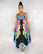 Casual Polyester Floral Halterneck Flounce Slip Dress BS1179