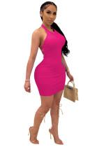 Pink Solid Backless Halterneck Mini Dress CYF3533