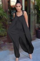 Black Solid Color Slip Loose Jumpsuit F8264