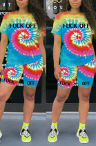Blue Casual Polyester Tie Dye Short Sleeve Round Neck Tee Top Shorts Sets OMY8037