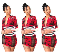Fashion Zipper Crop Top Wrap Skirt Camouflage Suits W8143