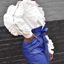 Casual White Ruffle Women Shirt With Zipper BN9139