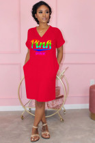 Red Casual Polyester Letter Short Sleeve V Neck Shift Dress OMM1136
