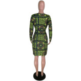 Green Print Stappy Bodycon Mini Dress With Long Sleeves Cardigans HH8879