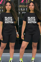 Black Casual Letter Short Sleeve Round Neck SetsTY1828