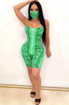 Green Sexy Sleeveless Round Neck Cami Jumpsuit CM752