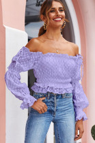 Purple Shirred Detail Puff Sleeve Flower Embroideried Top QZ8005