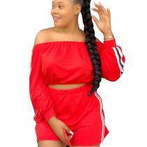 Red Wholesale Price Female Elastic Waist Flat Shoulder Shorts Sets T3364