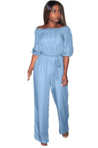 Blue Shirred Details Self-tied Casual Jumpsuit KDN1154