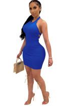Blue Solid Backless Halterneck Mini Dress CYF3533