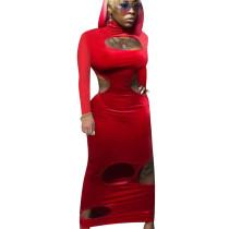 Red Unique Velvet Hollow Out Bodycon Sexy Long Dress QQM3884