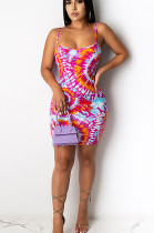 Red Sexy Polyester Sleeveless Spaghetti Strap Open Back Slip Dress CCY8538