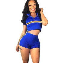 Blue Crop Tops High Waist Shorts Two Pieces Outfits F8217