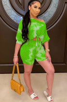 Green Marble Puff Short Sleeve Asymmertrical Shoulder Front Twinst Knotted Short Sets CM737