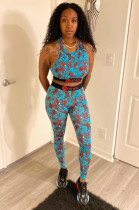 Sky Blue Sporty Sleeveless All Over Print Crop Top Long Pants Sets BBN079