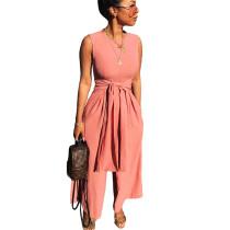 Pink Sleeveless Wide Leg Pants Loose Jumpsuits LS6093