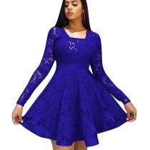 Blue Frill Trim Square Neck Long Sleeve Ladies Dress W8250