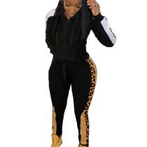 Black Wholesale Leopard Printed Patchwork Hooded Jogging Set ARM8149
