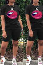 Black Casual Polyester Mouth Graphic Short Sleeve Round Neck Tee Top Shorts Sets FA7098