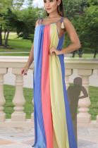 Light Blue Casual Polyester Striped Sleeveless Slip Dress HY5049
