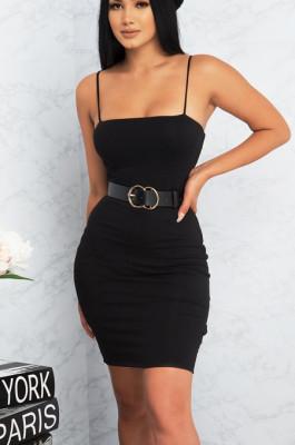 Black Sexy Polyester Sleeveless Spaghetti Strap Open Back Mini Dress WMZ1005