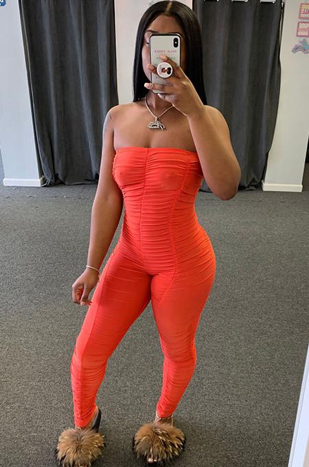 Orange Drawstring Waist Off SHoulder Shirred Details Jumpsuit WJ5087