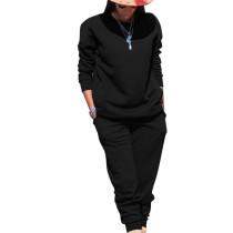 Black Sport Plain Color Comfy Sets Simple T Shirt Skinny Pants TRS991