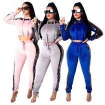 Hoodie Tops Sequins Velvet Leggings Outfits SMR9126