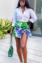 Green Polyester Split Hem Above Knee / Short Skirt SN3819
