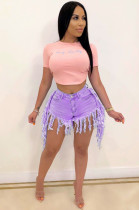 Purple Vintage Polyester Tassel Hem Shorts QZ5322