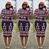 Hot Sale Print Knitting Midi Skirts Sets JH077