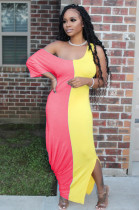 Pink Yellow Casual Short Sleeve Spliced High Waist Long Dress TRS1018