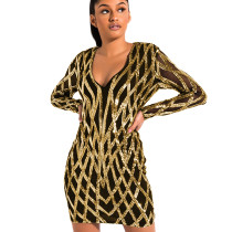 Gold Hot Sale Slim Bodycon See Through V Collar Sequined Dress XZ3326