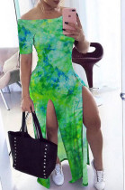 Green Casual Cotton Tie Dye Short Sleeve Split Hem High Waist Long Dress K8901