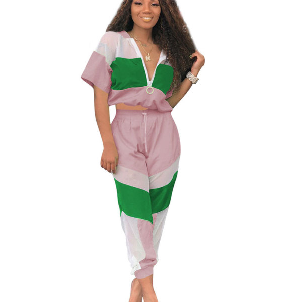 Pink Summer Mesh Color Block Zipper Sports Outfits OEP6002