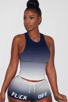Gradient Dark Blue Tanks Drawsting Top & Shirred Shorts Sets GL6262