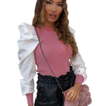 Pink Puff Sleeves Splicing Fall&Winter Casual Bodycon Pullover Tops DN8341