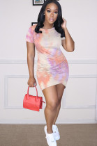 Orange Casual Polyester Tie Dye Short Sleeve Round Neck Ruched Detail Mini Dress Q552