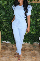 Light Blue Casual Polyester Short Sleeve Round Neck Waist Tie Ruffle Tee Top Long Pants Sets HM5335