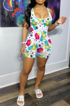 White Casual Polyester Cartoon Graphic Sleeveless All Over Print Bodycon Jumpsuit CY1235