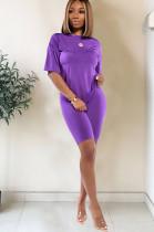 Purple drop sleeve round neck short sets TRS1006