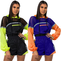 Patchwork Mesh Hoodie Tops Mini Shorts Outfits QZ5241