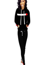 Black winter sport pants set with hooded blouse and side strip printed D8334