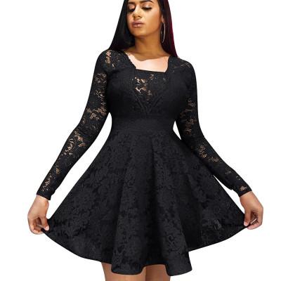 Black Frill Trim Square Neck Long Sleeve Ladies Dress W8250